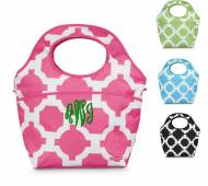 Monogrammed Geometric Patterned Cooler In Pink, Green, Black Or ...