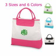 Monogrammed Deluxe Canvas Tote In 3 Sizes And 6 Trim Colors