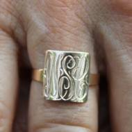 "Monogrammed Square 10 Kt Gold Ring Perfect ""Sweet 16"" Ring"
