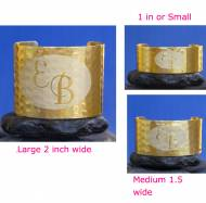 Reversed Engraved Initials Metal Cuff In Gold Or Silver