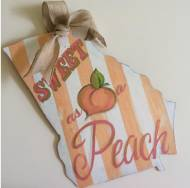 Handpainted Sweet As A Peach Georgia Pride Wooden Sign