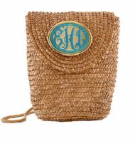 Wimberly Inc Natural Straw Crossbody Bag With Turquoise Script ...