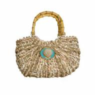 Wimberly Inc Small Straw Boat Tote With Scallop Charm 12 Colors