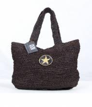Wimberly Black Raffia Slouch Straw Tote With Gold Starfish Charm