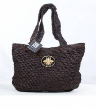 Wimberly Inc Black Raffia Slouch Bag With Queen Bee Charm In Black