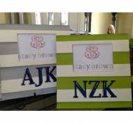 Hand Painted Monogrammed Striped Picture Frame With Block Letters