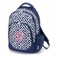 Monogrammed Navy Greek Key Backpack With Tablet Compartment