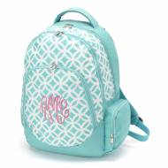 Monogrammed Aqua Sadie Circles Backpack With Tablet Compartment