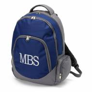 Monogrammed Navy And Gray Backpack With Tablet Compartment