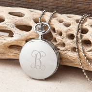 Monogrammed Initial Women's Watch Pendant Necklace