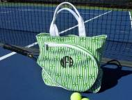 Monogrammed Canvas Green And White Tennis Tote