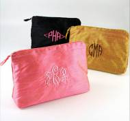 Monogrammed Solid Silk Cosmetic Bags All Colors And Sizes