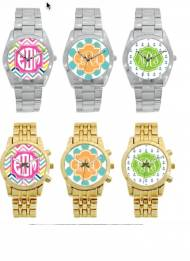 Monogrammed Boyfriend Watch In Gold Plated And Stainless Steel