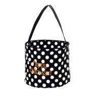 Monogrammed Black Dot Halloween Bucket Tote