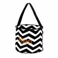 Monogrammed Black Chevron Halloween Bucket Tote
