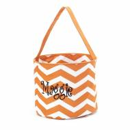 Monogrammed Orange Chevron Halloween Bucket Tote