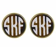 Small Monogrammed Tortoise Shell Earrings