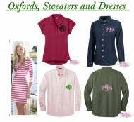 Monogrammed Oxfords, Sweaters And Dresses
