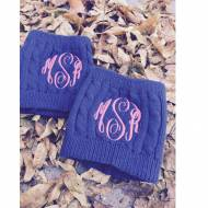 Monogrammed Navy Boot Socks