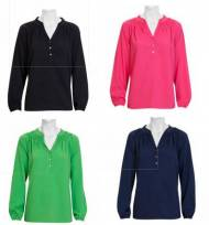 Monogrammed Layering Blouse In Green, Pink, Navy And Black