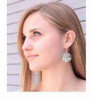Acrylic Fancy Filigree Monogram Earrings