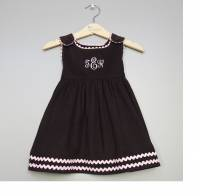 Monogrammed Corduroy  Dress Brown With  . . .