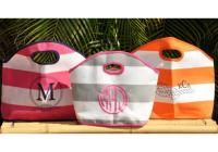 Queen Bea Monogrammed Striped GG Bag
