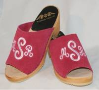 The Pink Monogram Peep Toe Clogs