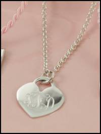 Monogrammed Sterling Silver Heart Pendant  . . .