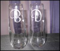 Personalized Pair Of Stemless Toasting Flutes