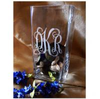 "Personalized 9"" Crystal Square Vase"