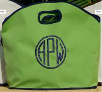 GG Siesta Green Tote Trimmed In Navy.  . . .