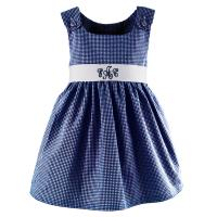 Navy Gingham Dress With Monogrammed Sash