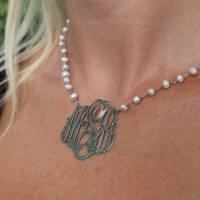 Monograms And Pearls Pendant:  Gold  . . .