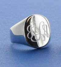 Monogrammed Sterling Silver Oval Signet Ring