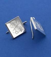 Monogrammed Sterling Silver Square French  . . .