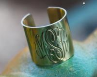Hand Engraved Monogrammed Wide Cuff Ring  . . .