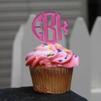 Monogrammed Acrylic Cupcake Toppers