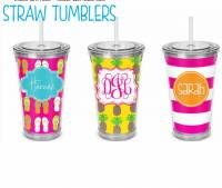 Monogrammed Acrylic Tumbler With Straw  . . .