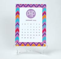 Monogrammed Desk Calendar With Stand