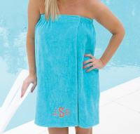 Monogrammed Towel Wraps In Solid Colors