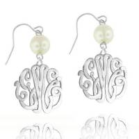Monogrammed Interlocking Script Earrings  . . .