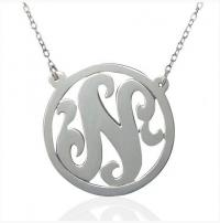 Monogrammed Single Initial Pendant With  . . .