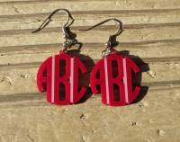 Monogrammed Circle Font Acrylic Earrings