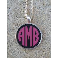 Monogrammed Acrylic Color Circle Font Pendant