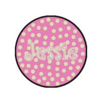 Childs Round Personalized Pink And Green  . . .