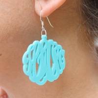Monogrammed Acrylic Script Earrings On A  . . .