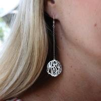 Monogrammed Earrings On A Dangle Link.  . . .