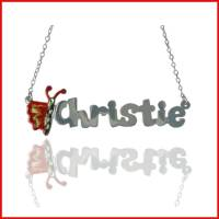 Child's Butterfly Name Necklace In  . . .