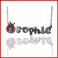 Child's Lady Bug Name Necklace In  . . .